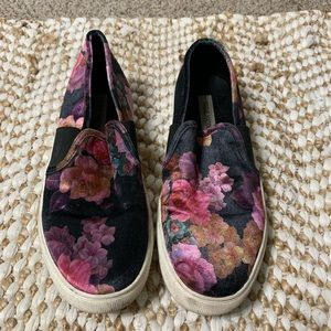 Black and pink floral slip on sneakers size 10